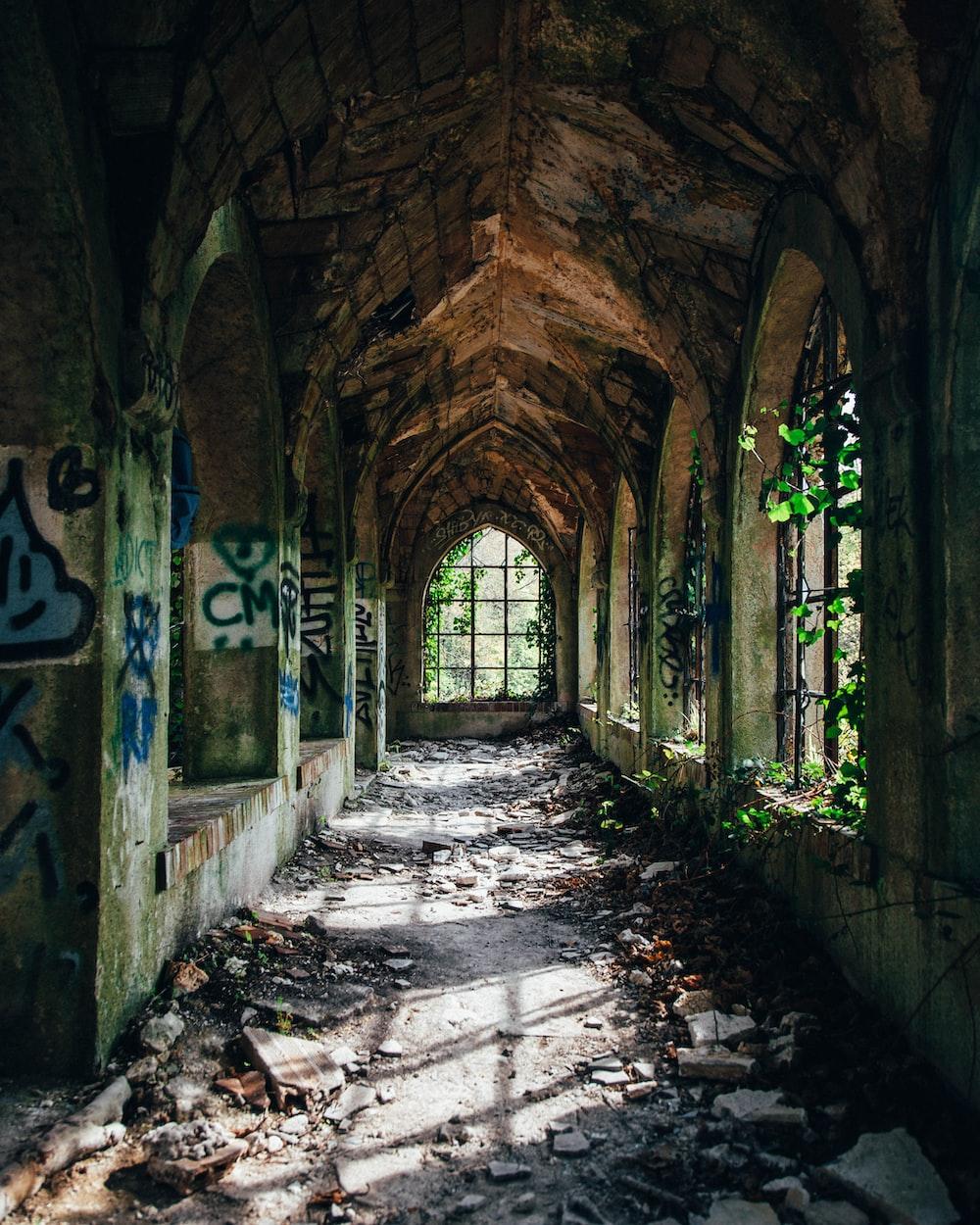 empty building ruins hallway