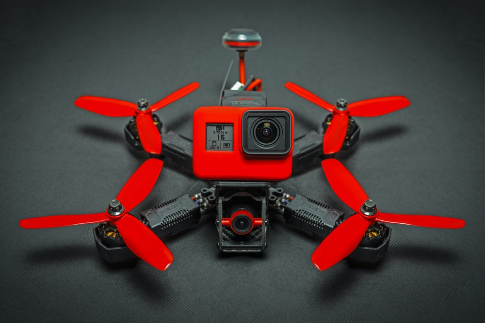 red and black drone