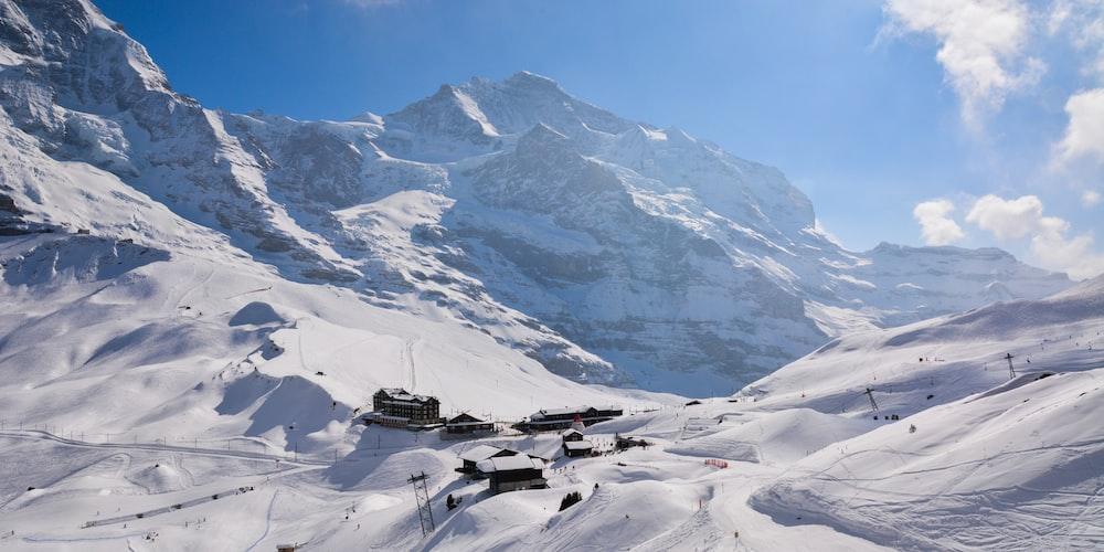 houses on snow mountain