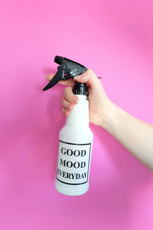 white and black spray bottle
