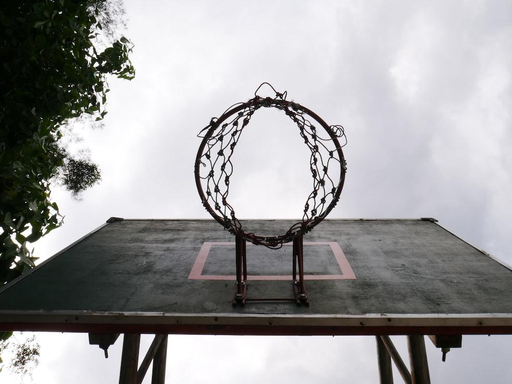 black wooden basketball ring