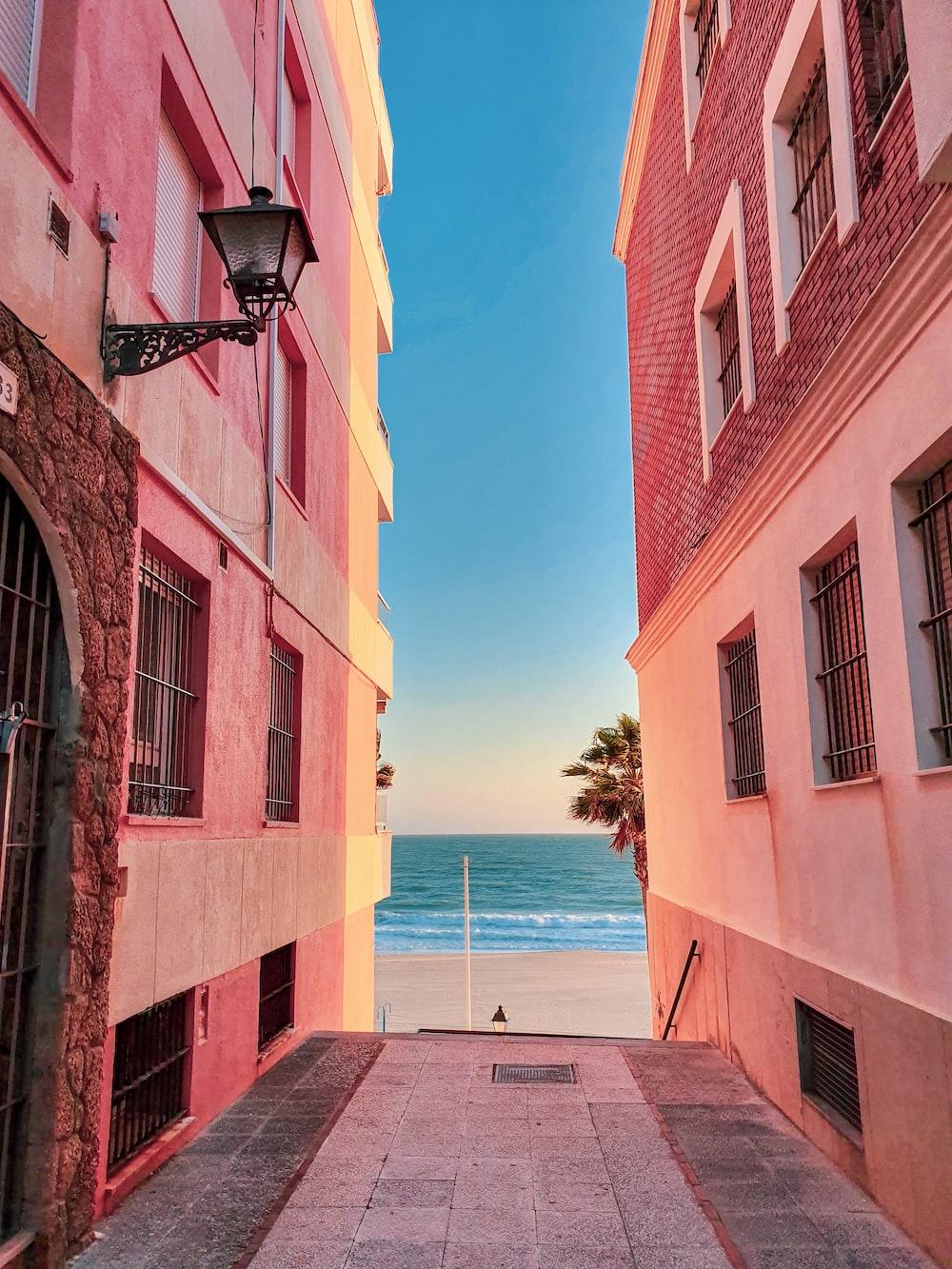 alley photography of walkway between orange building during daytime