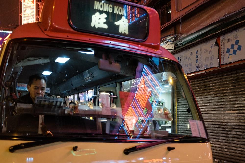 man driving a van in Hong Kong