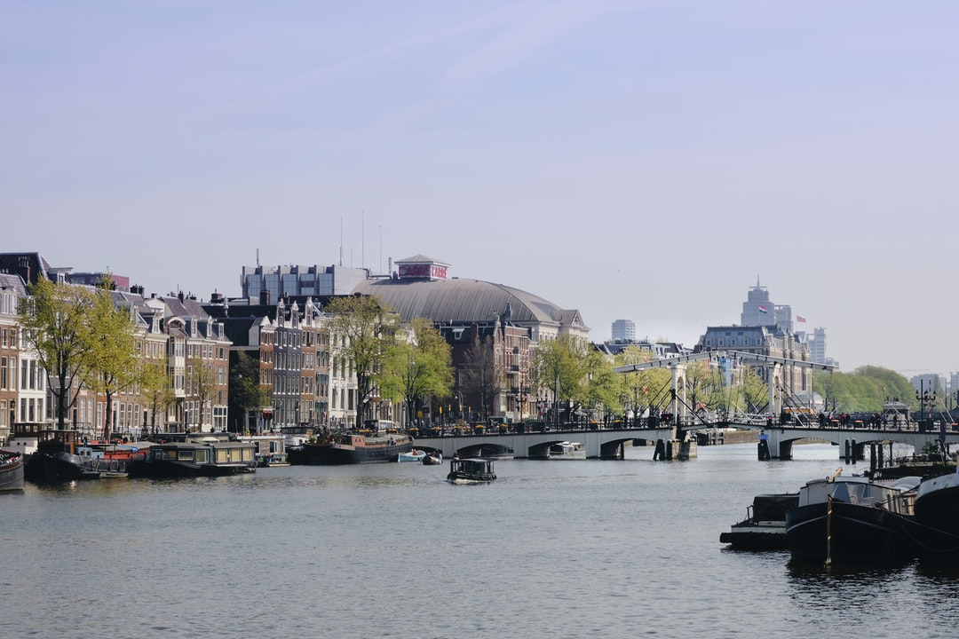 Look at the Amstel river and the famous 'Magere brug', Amsterdam.