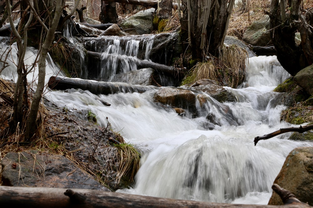 time lapse photography of flowing water