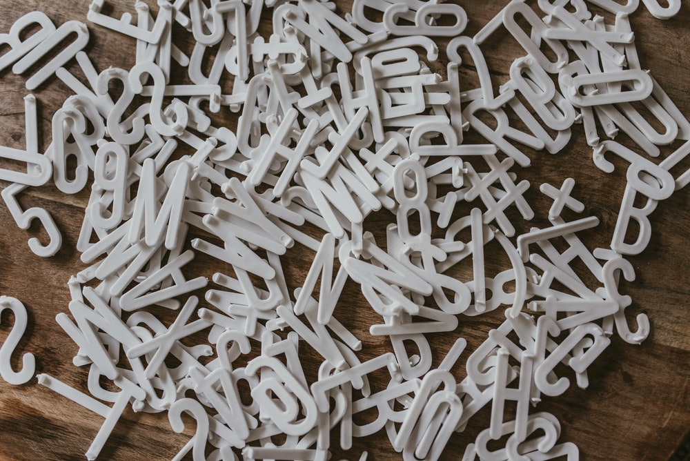 white letters freestanding