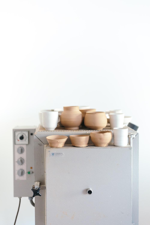 brown and white ceramic pot