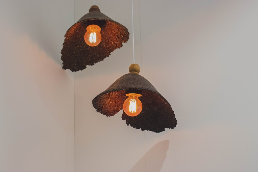 brown ceiling lamp turned-on