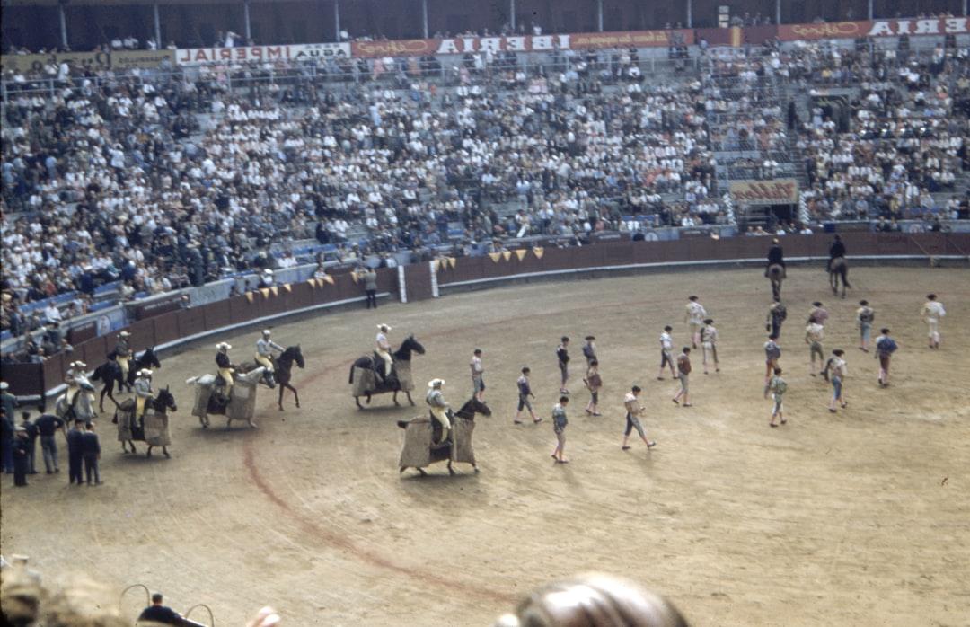 Vintage image of a bull fight at Barcelona Grand Parade circa 1957
