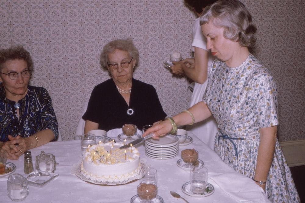 women near table
