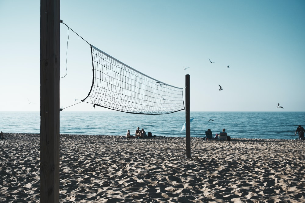 volleyball net on shore