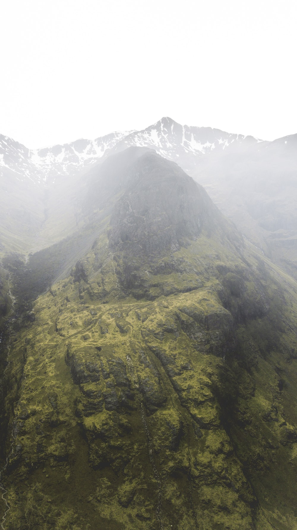 high angle view photography of mountains