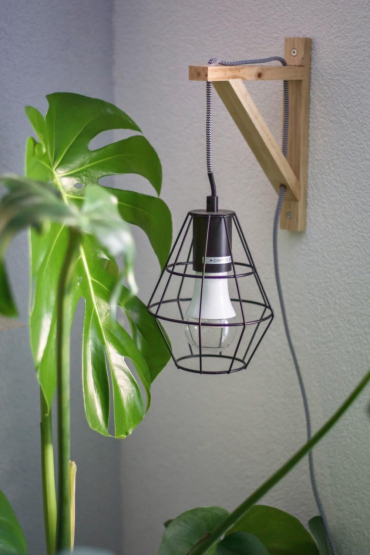black caged lamp