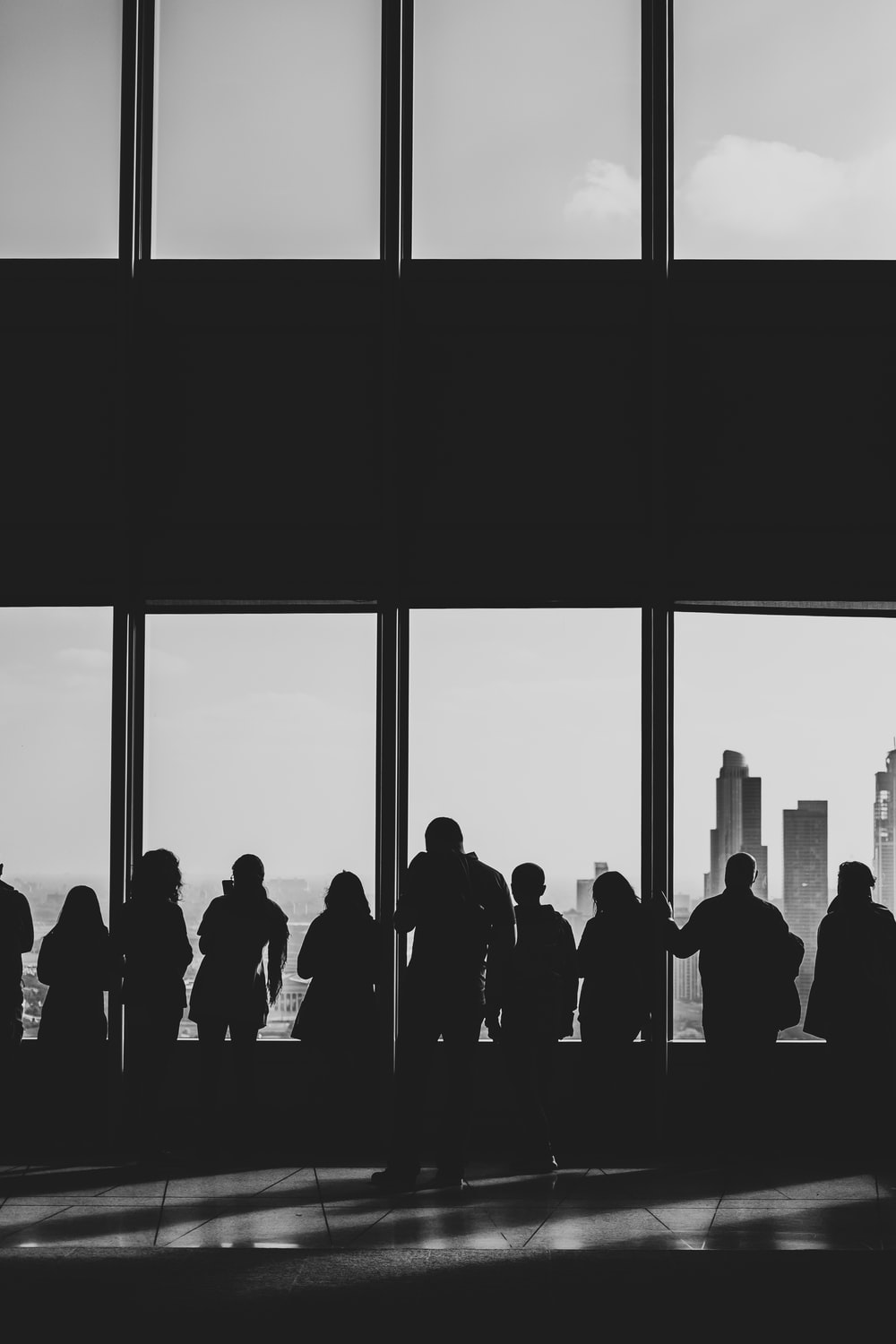 silhouette of people looking at windows