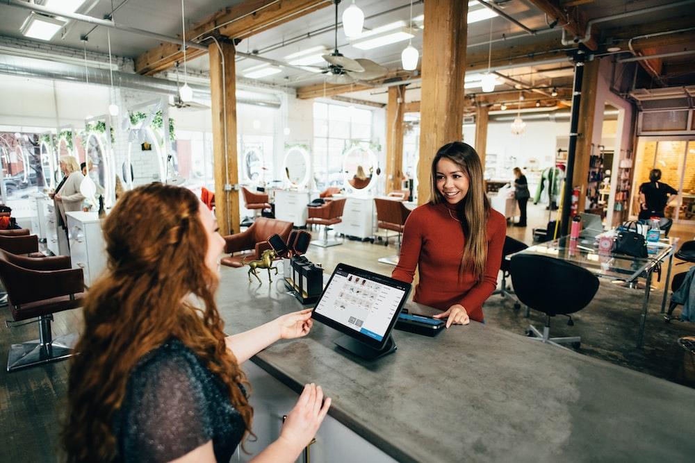 two women near tables