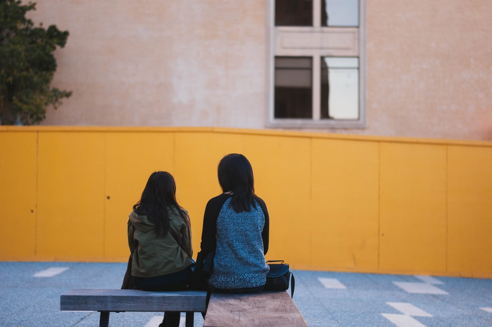two persons sitting on brown bench