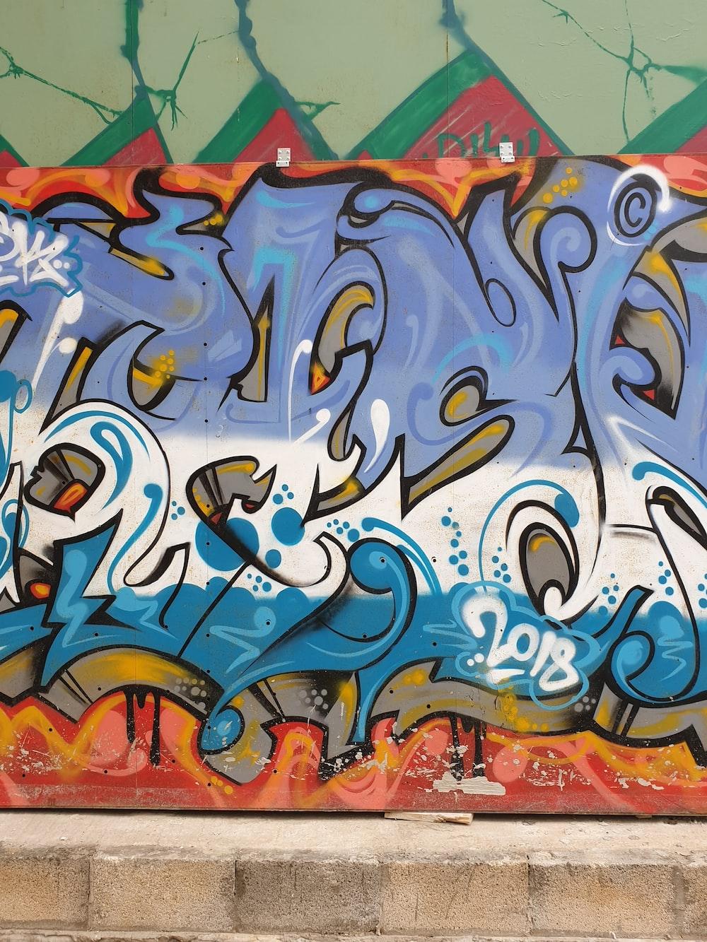 wall with multicolored graffiti