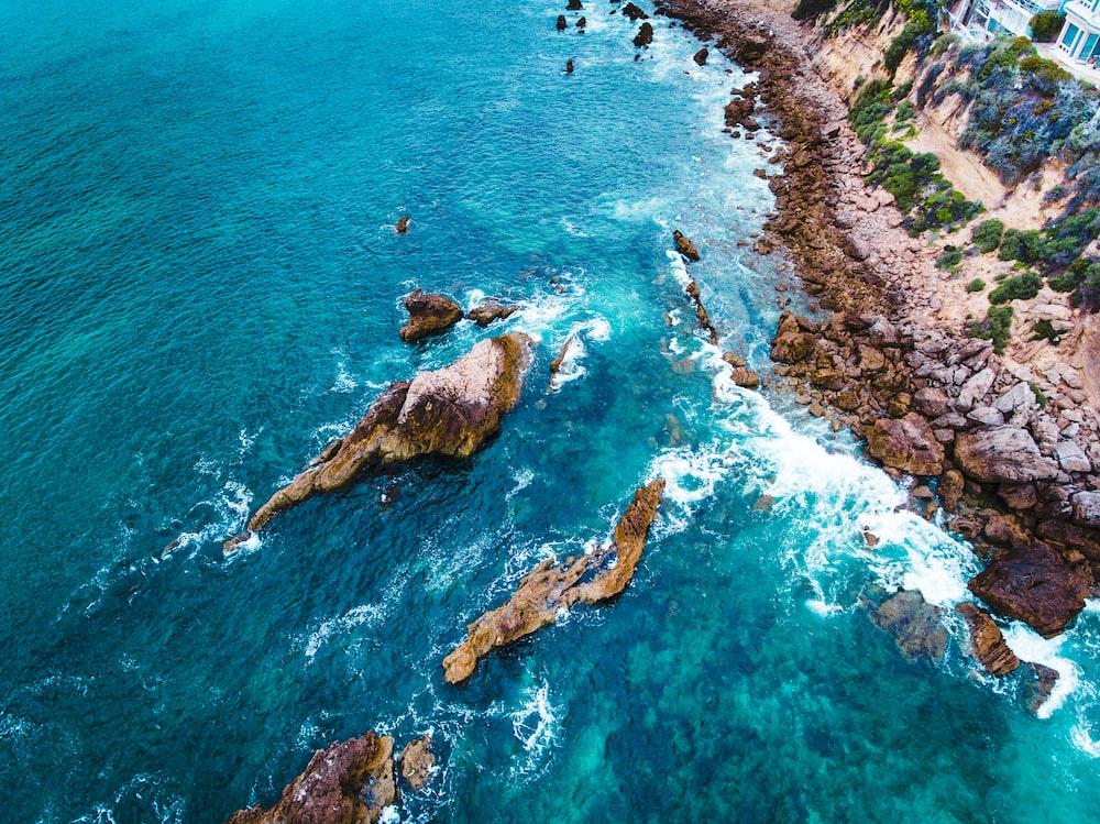 rock boulders in coastal area