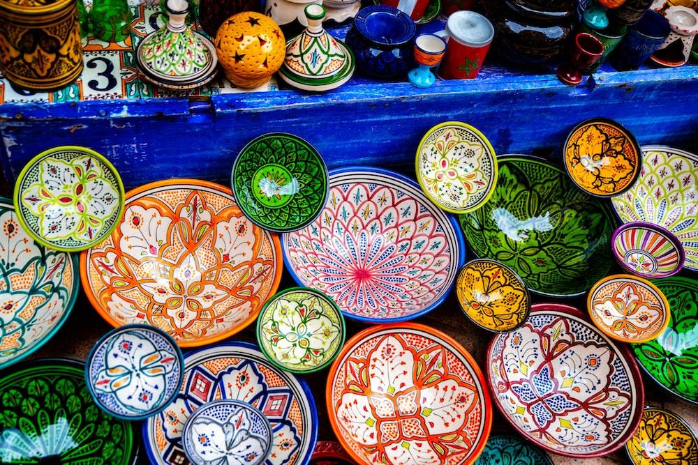 multicolored bowl lot