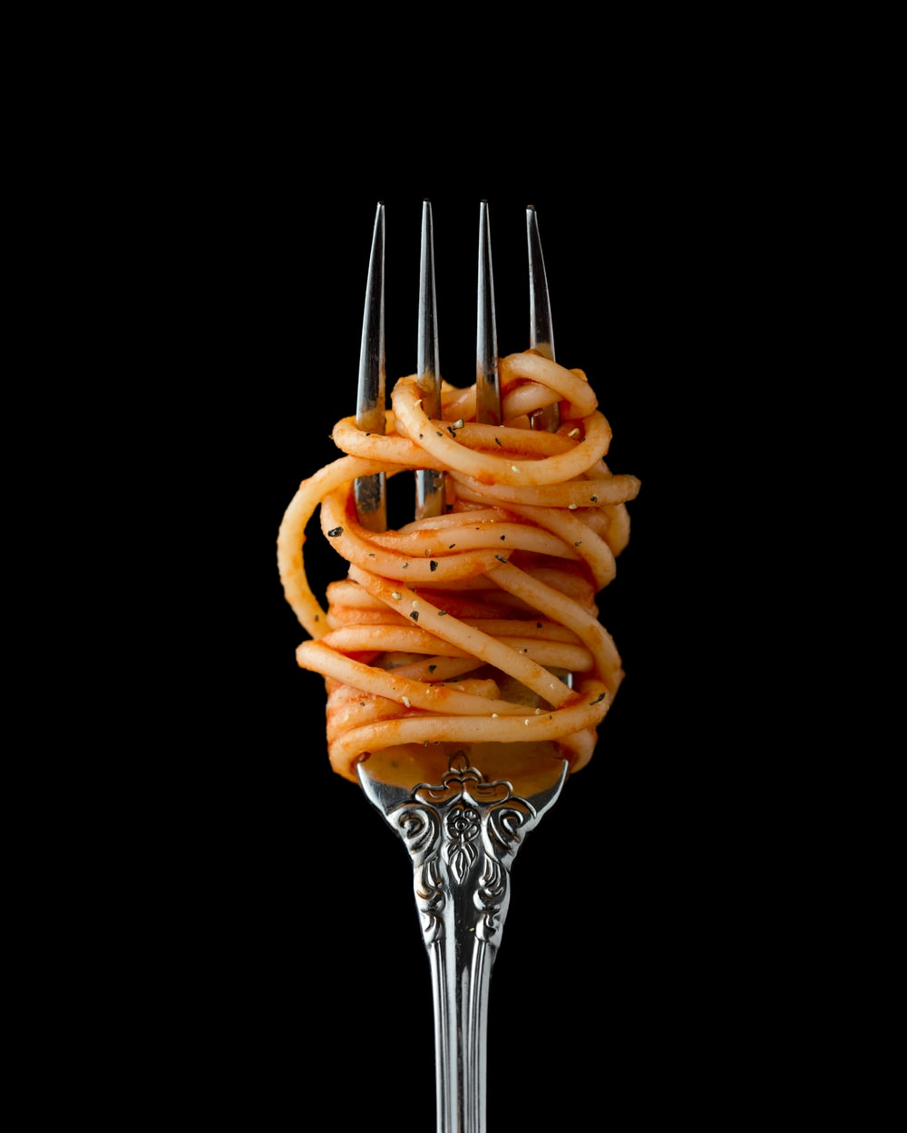 fork with spaghetti