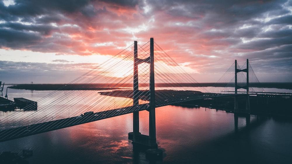 silhouette photography of bridge