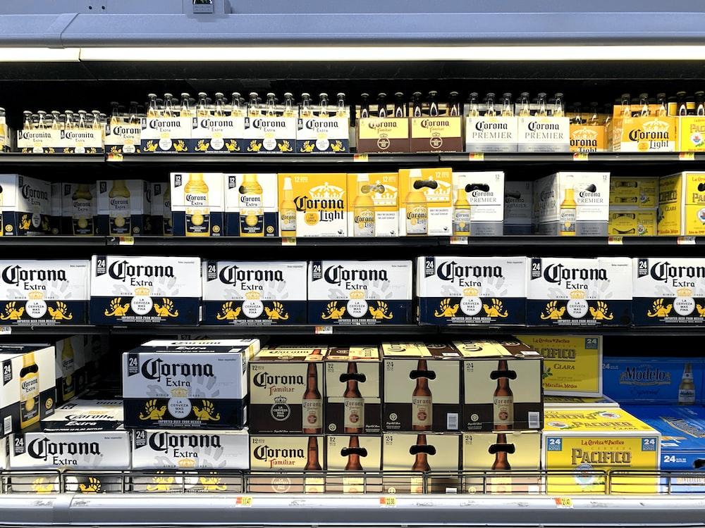 Corona beer bottle on store shelf