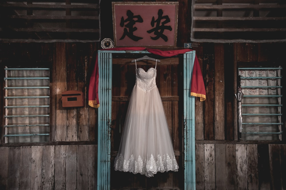 women's white and gray floral spaghetti-strap wedding dress