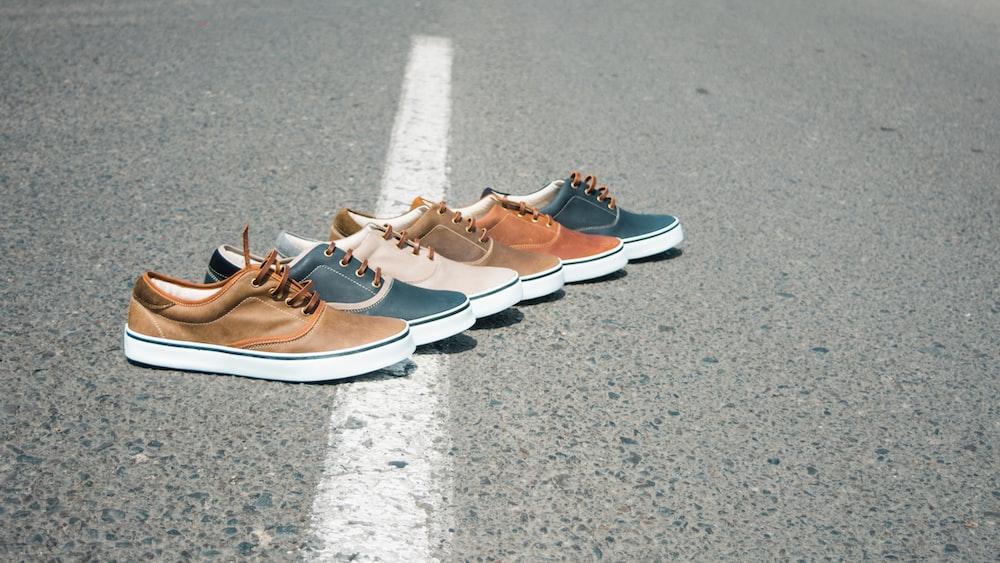 six assorted-color low-top sneakers