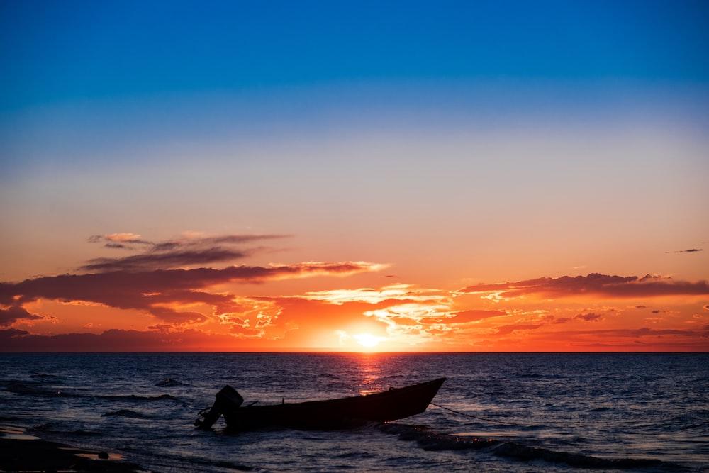 boat under golden hour