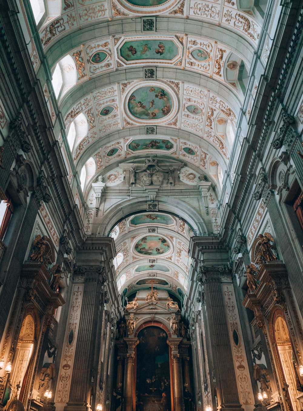 low-angle photography of cathedral ceiling
