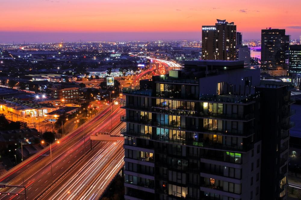 city building photo during dusk