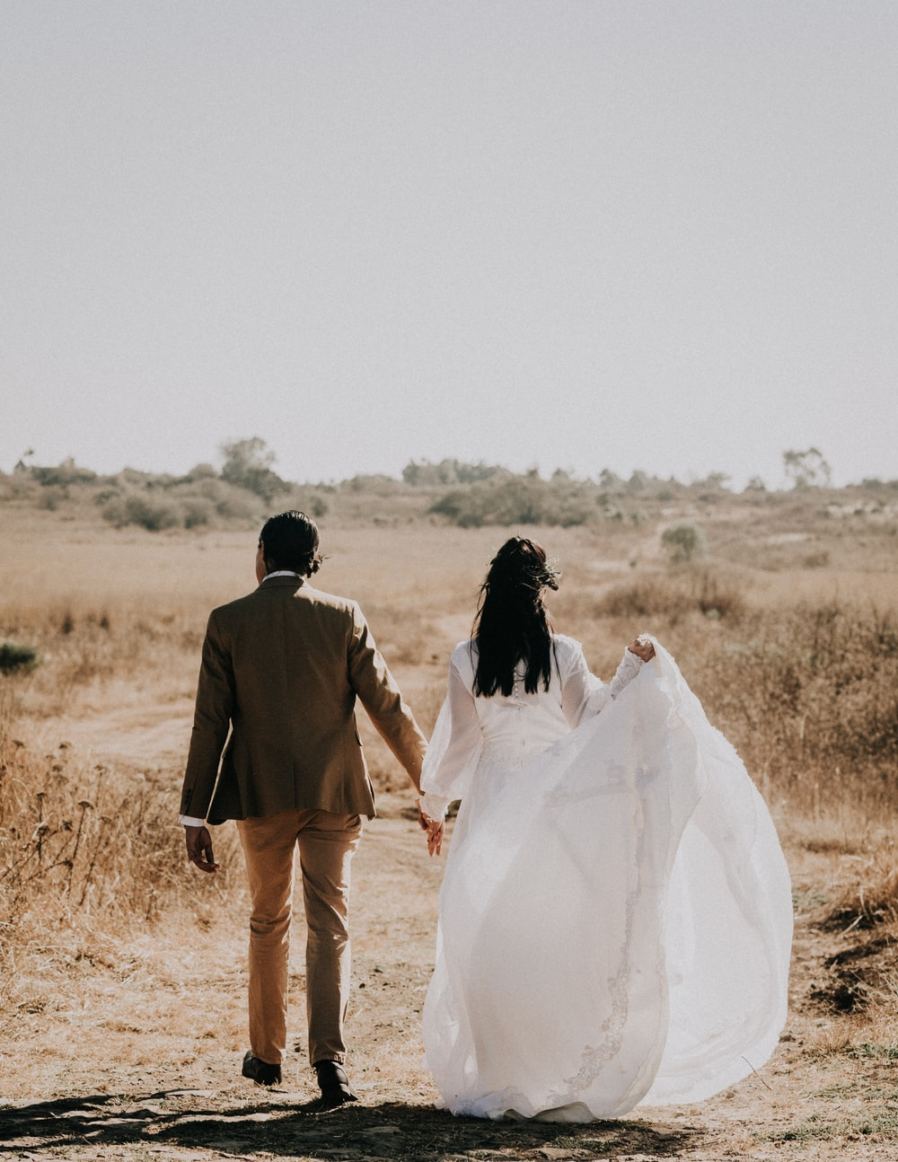 woman walking with man