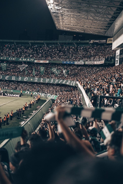 people in stadium at night