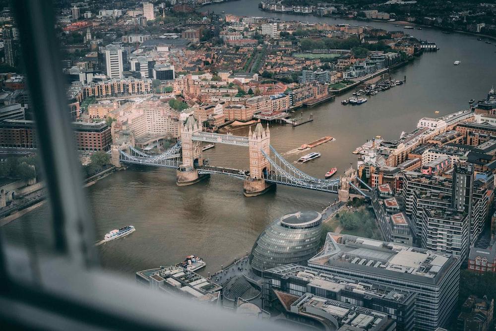aerial photo of suspension bridge