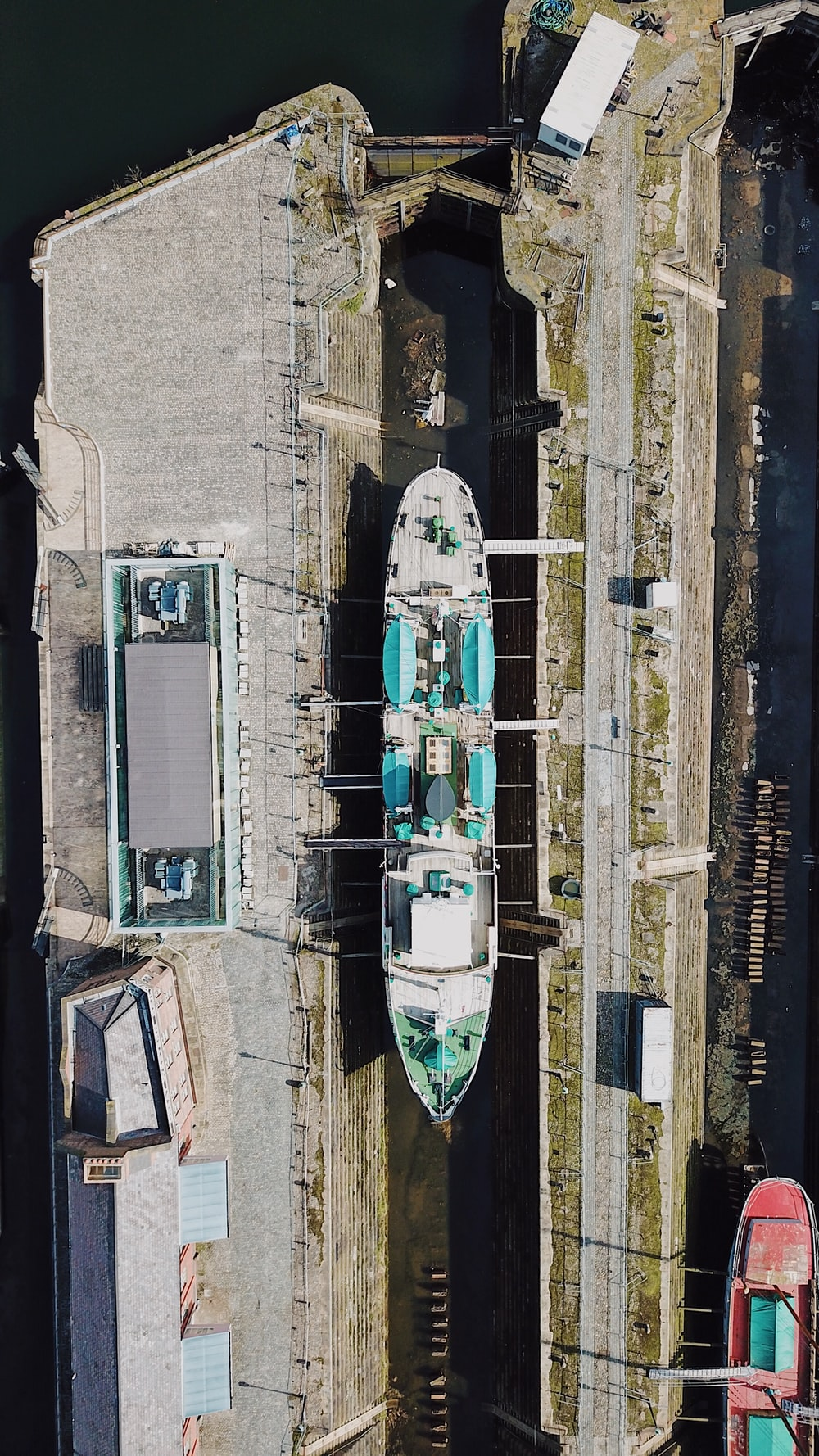 aerial photography of ship on repair