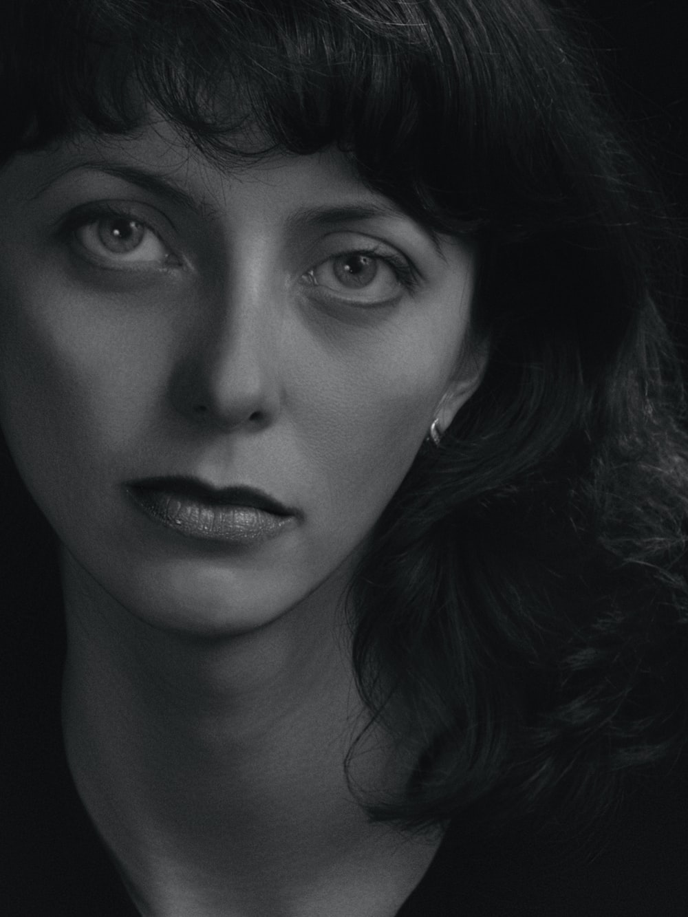 grayscale photography of womens face