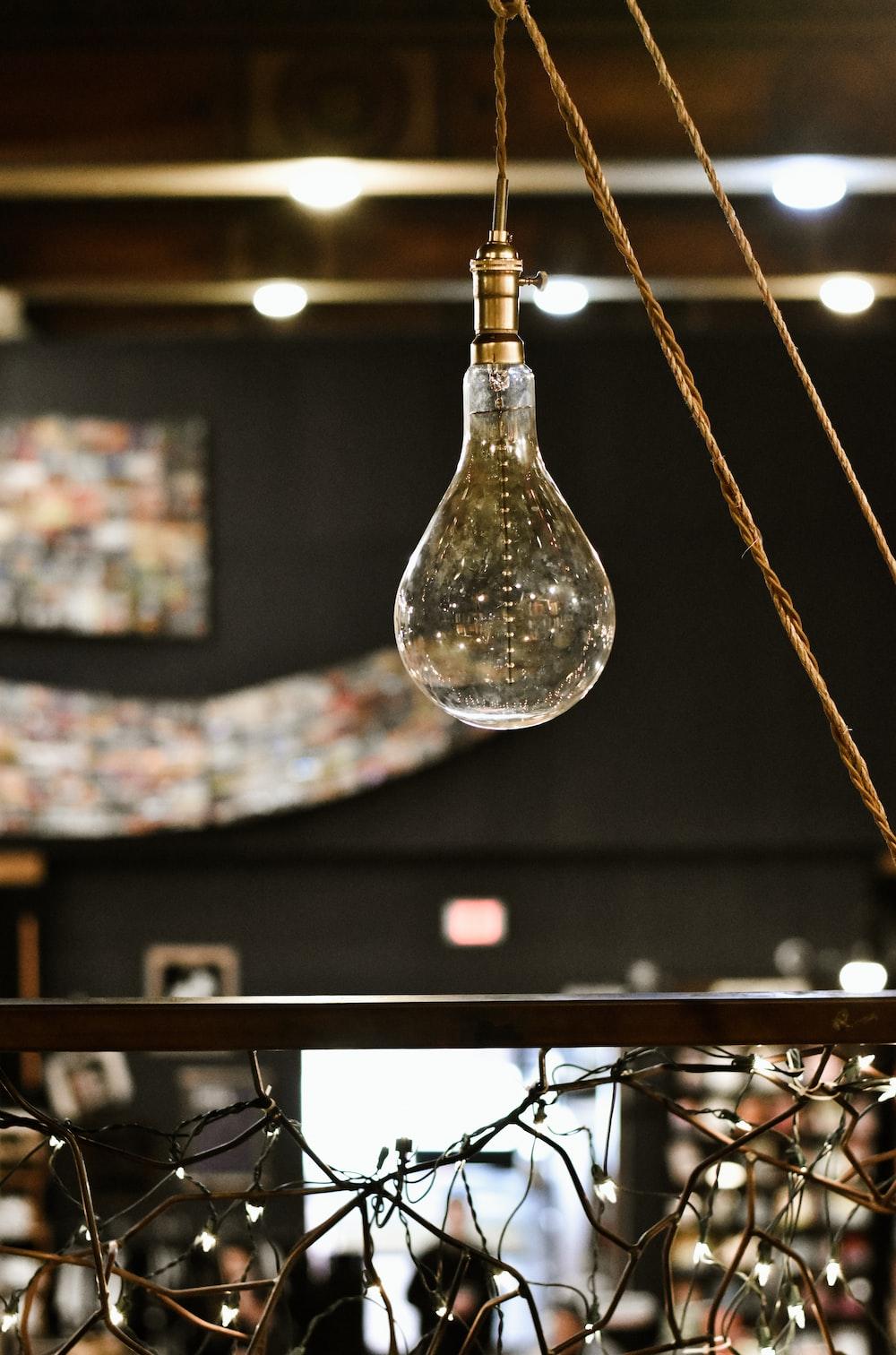 clear light bulb near near string lights