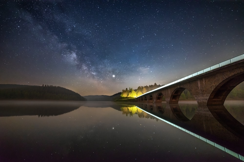 lake and bridge at night view
