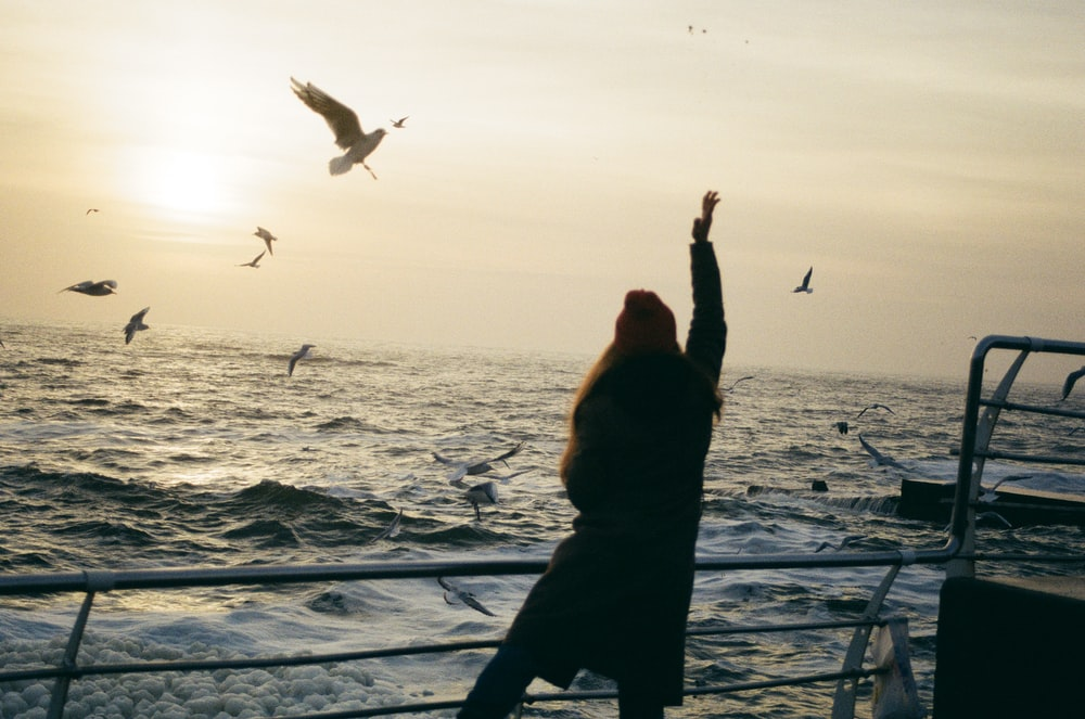 woman in boat playing with the birds flying at sea