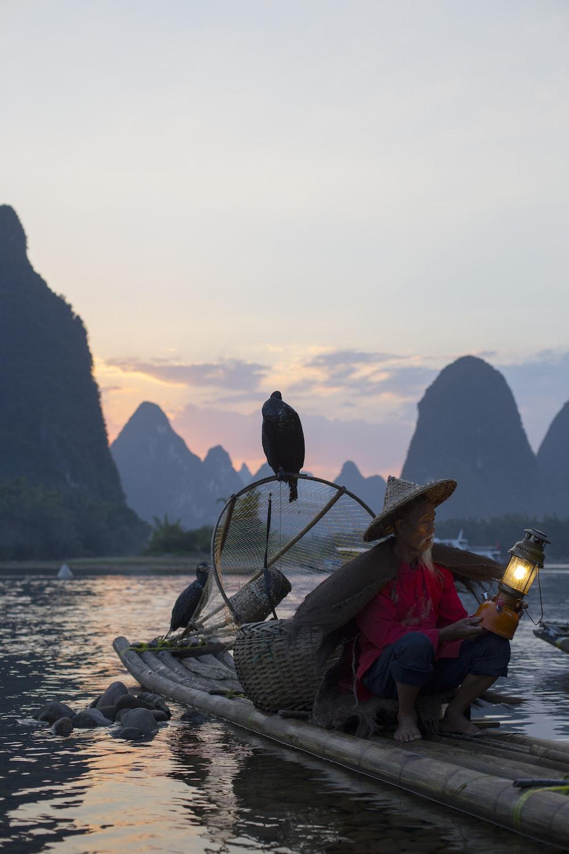 woman riding boat