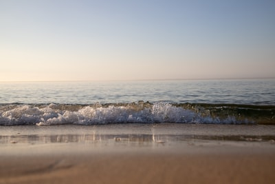 low-angle photography of beach under blue sky