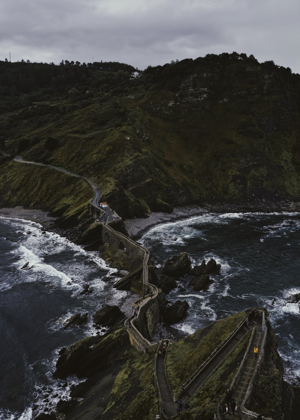 high-angle photography of bridge between beach