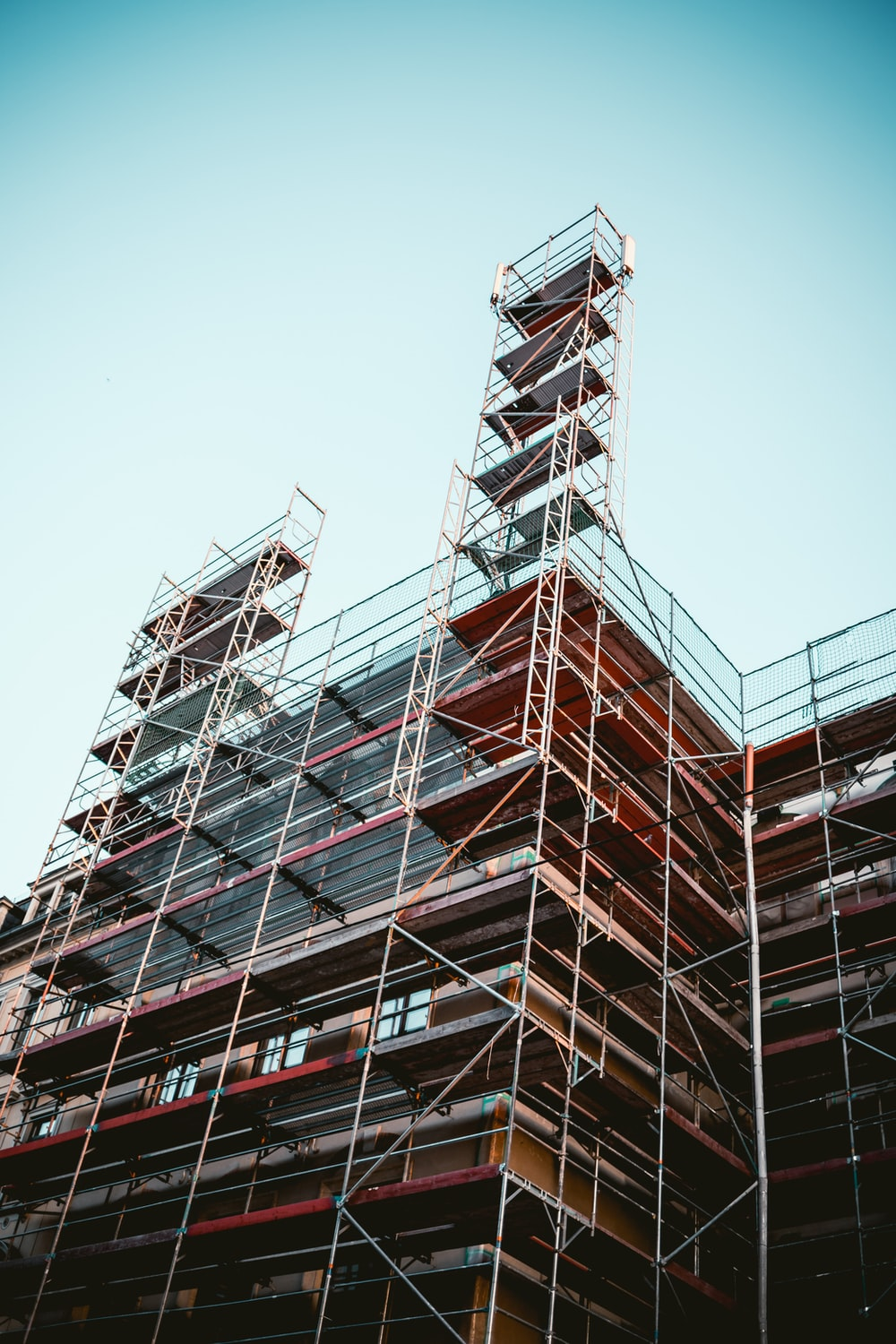 worm view photo of scaffolding
