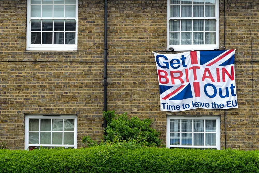 Get Britain Out flag hanging outside building