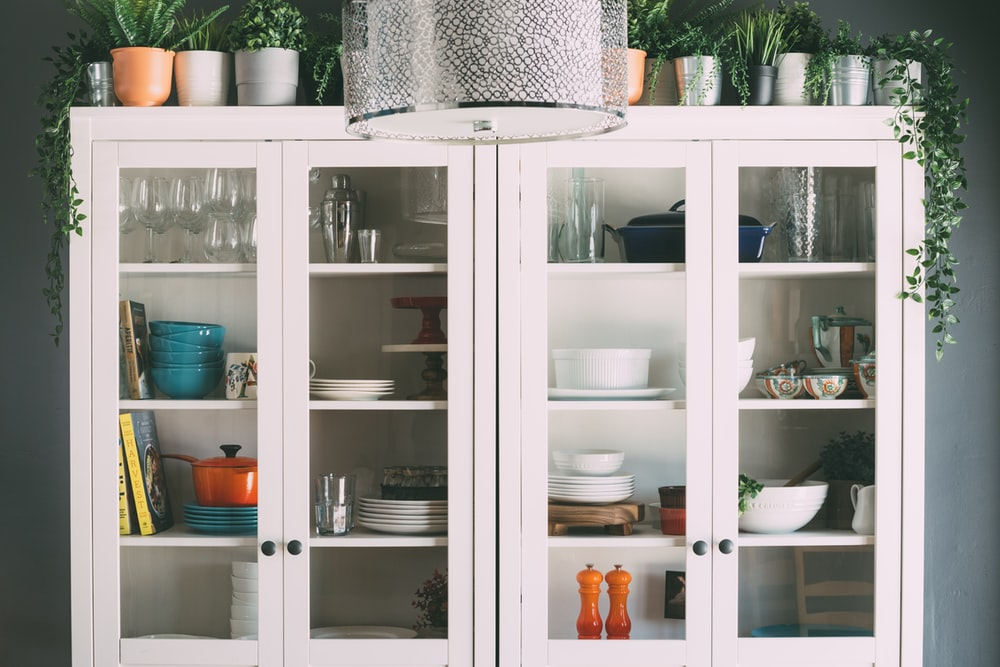 white wooden display cabinet