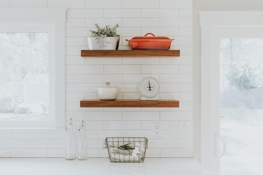 brown wooden rack