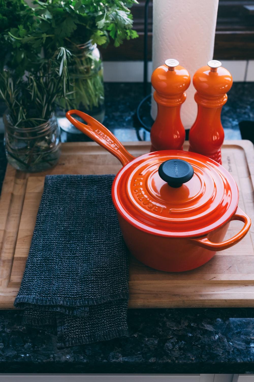round orange pot