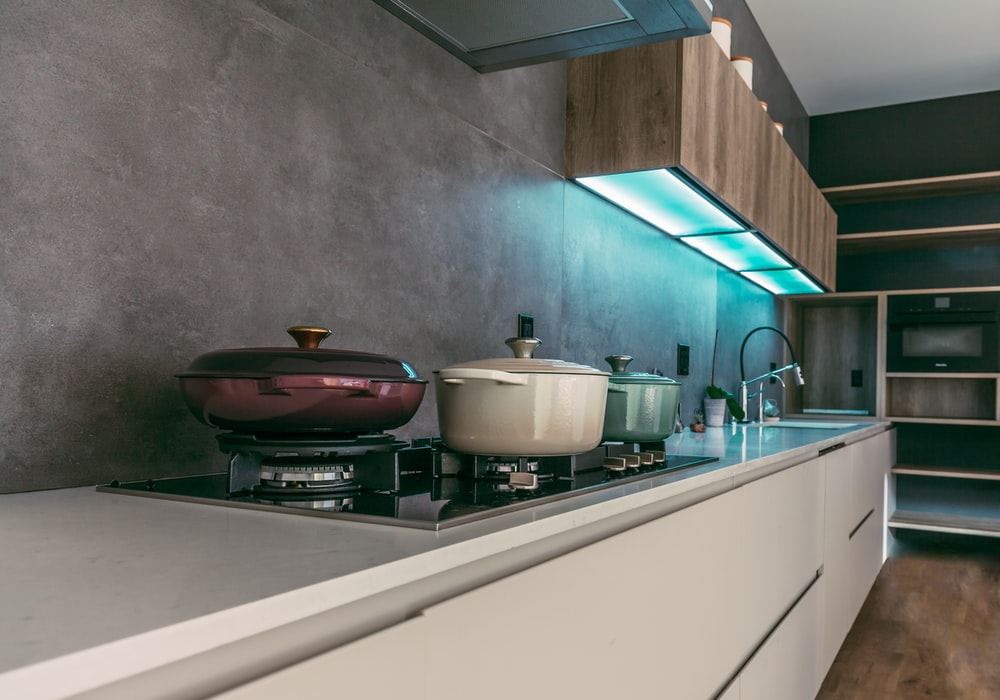 electric stove with cooking pots