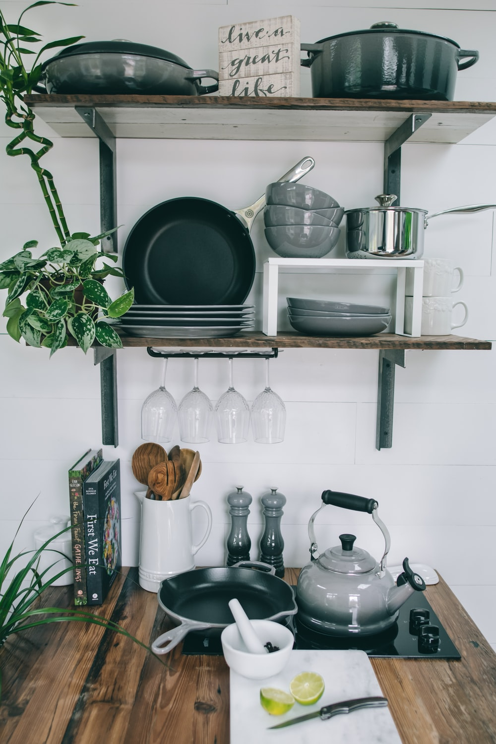 pans and plates on rack