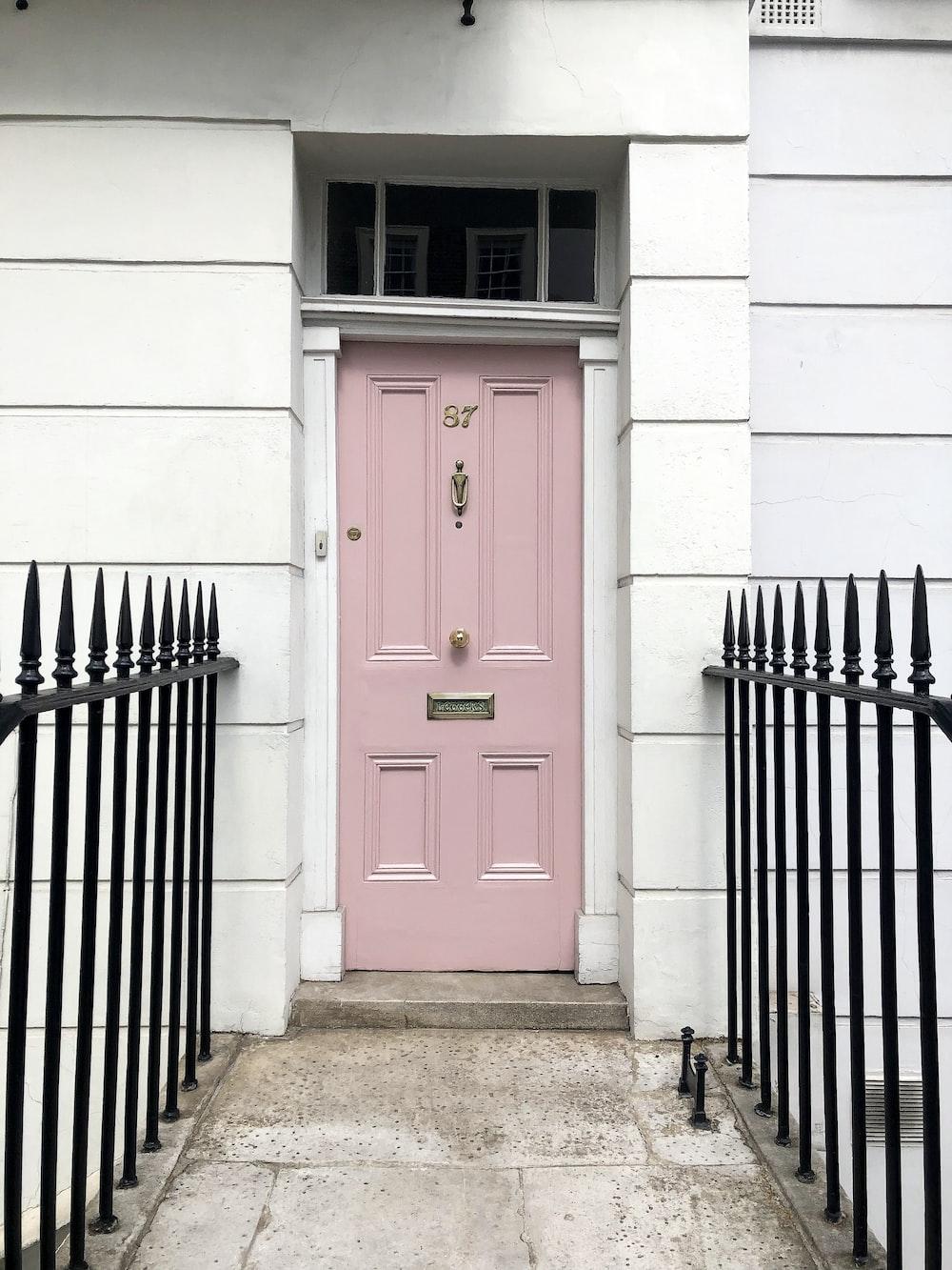 closed pink door